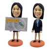 Female Executive Business Card Holder Bobblehead