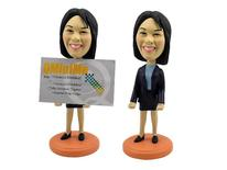 Female Executive Business Card Holder Bobblehead - Bobbleheads.com