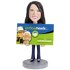 Female Executive Business Card Holder In Pant Suit Bobblehead