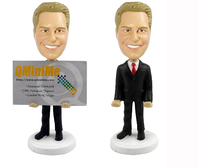 Male Executive Business Card Holder Bobblehead - Bobbleheads.com