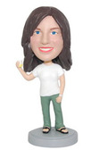 Casual Female Holding Drink Bobblehead - Bobbleheads.com