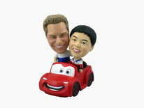 Couple In Animated Red Car Bobblehead - Bobbleheads.com