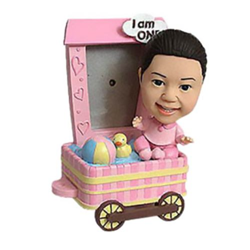 Photo of Baby Girl With Wagon Frame Bobblehead