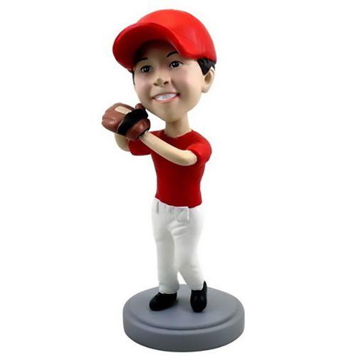 Photo of Child Baseball Player Wearing Glove Bobblehead