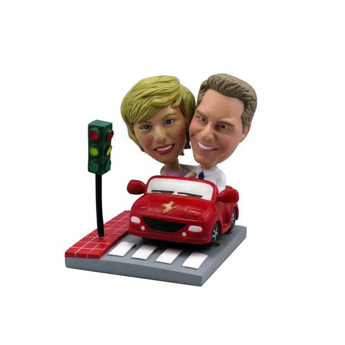 Photo 1 of Couple In Red Car At Stoplight Bobblehead