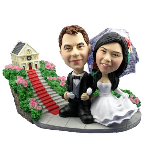 Photo of Bride and Groom Arm In Arm At Church Bobblehead