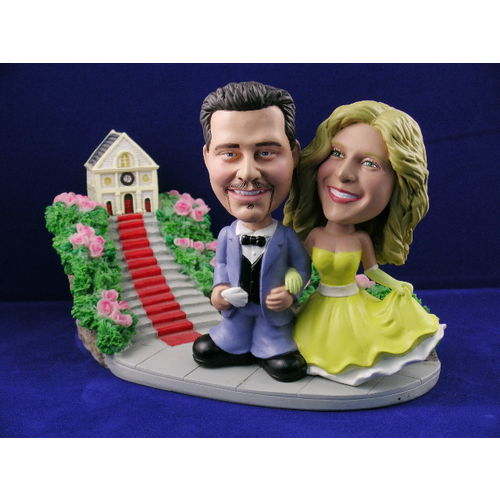 Photo 1 of Bride and Groom In Classic Pose At Church Bobblehead