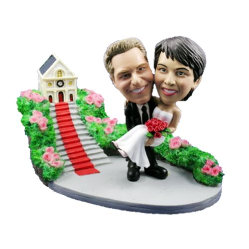 Photo of Groom Carries Bride At Church Bobblehead