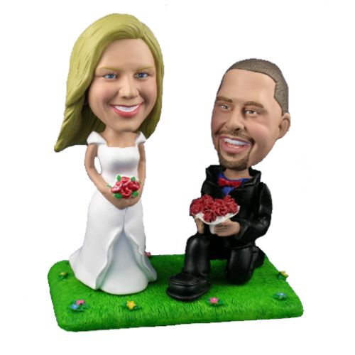 Photo of Groom On Bended Knee With Bride On Lawn Bobblehead