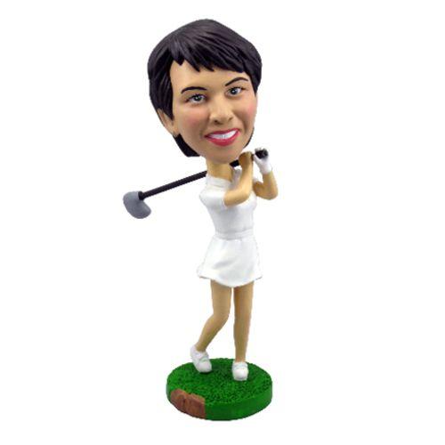 Photo of Female Golfer Swinging Her Club Bobblehead