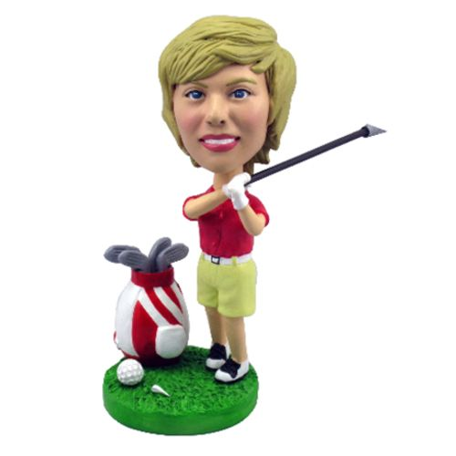 Photo of Female Golfer With Bag & Clubs Bobblehead
