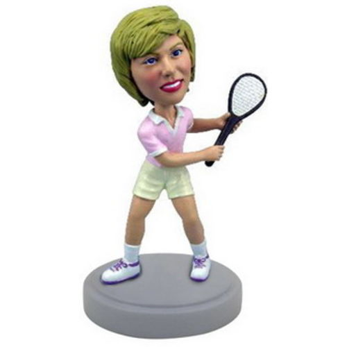 Photo 1 of Female Tennis Player In Backswing Bobblehead