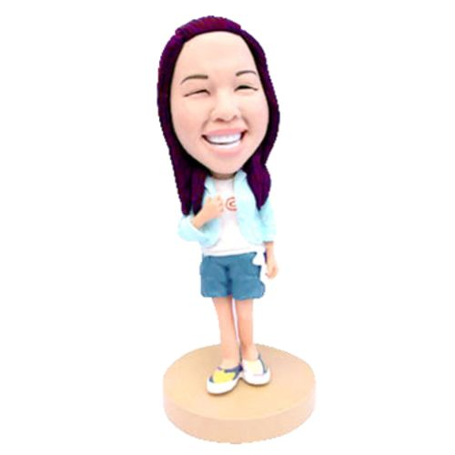Photo of Teenager In Shorts & Blue Jacket Bobblehead