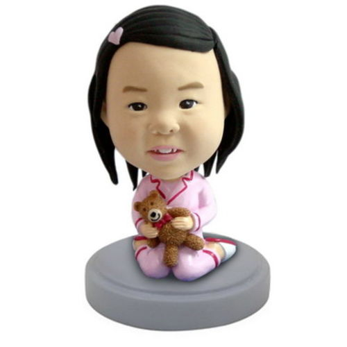 Photo 1 of Young Girl With Teddy Bear Bobblehead