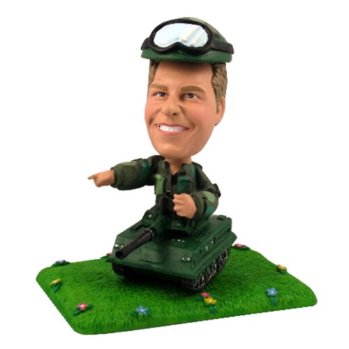 Photo of Army Soldier With Tank Bobblehead