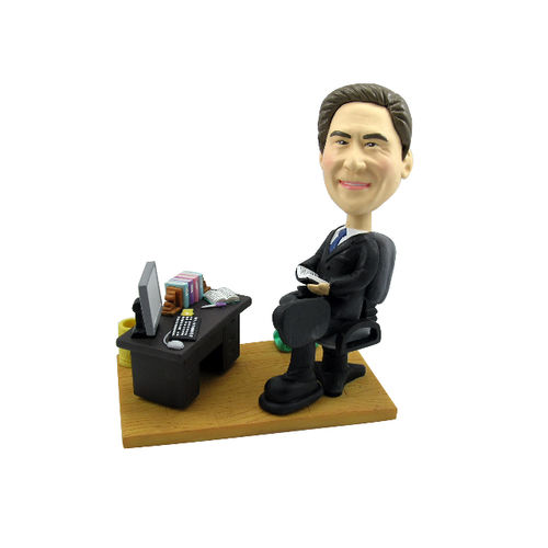 Photo of Male Executive At Office Desk Bobblehead