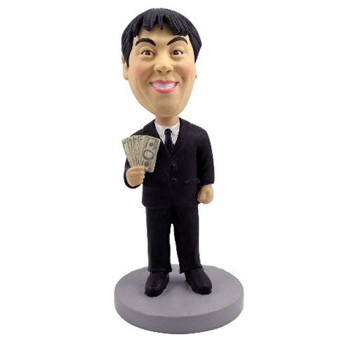 Photo of Male Executive In Black Suit Holding Money Bobblehead