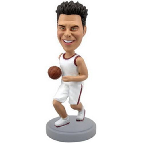 Photo 1 of Basketball Player Dribbling With White Uniform Bobblehead