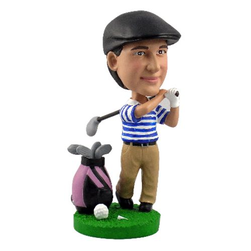 Photo of Male Golfer with Bag & Clubs Bobblehead