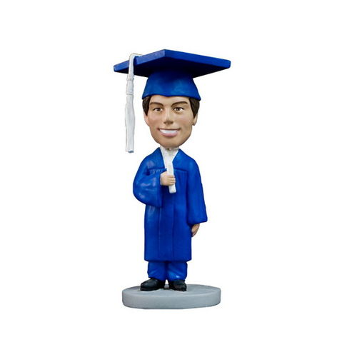Photo 1 of Male Graduate In Blue Gown Bobblehead