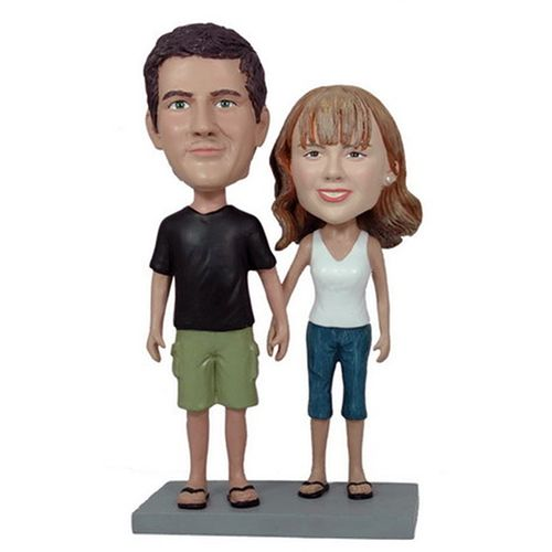Photo of Casual Couple Holding Hands Bobblehead