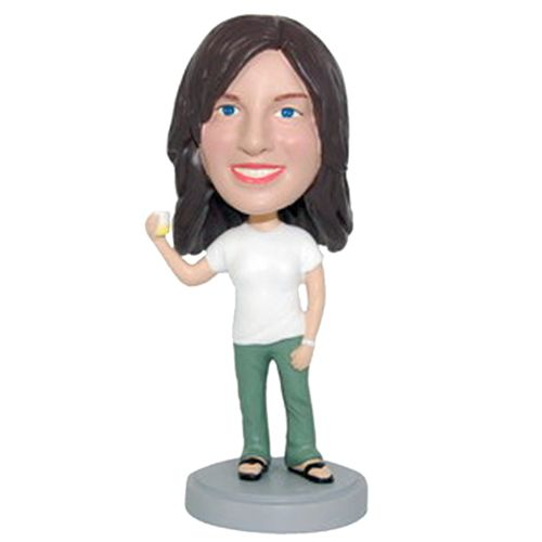 Photo of Casual Female Holding Drink Bobblehead