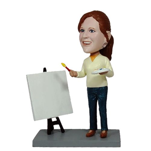Photo of Female Artist With Canvas Bobblehead