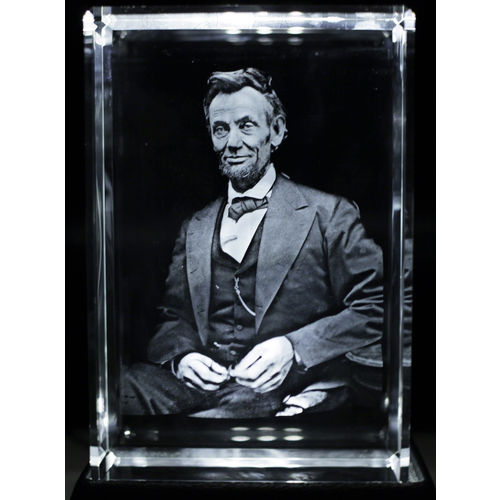 Photo 1 of Abraham Lincoln 3D Large Laser Crystal 8x12 cm