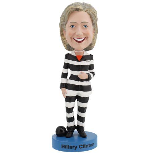 Photo of RETIRED - Hillary Clinton Striped Prison Pantsuit Bobblehead