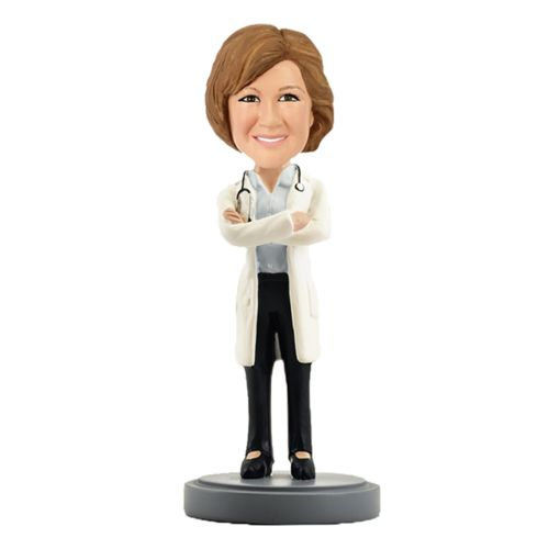 Photo of Female Doctor In Lab Coat with Stethoscope Bobblehead
