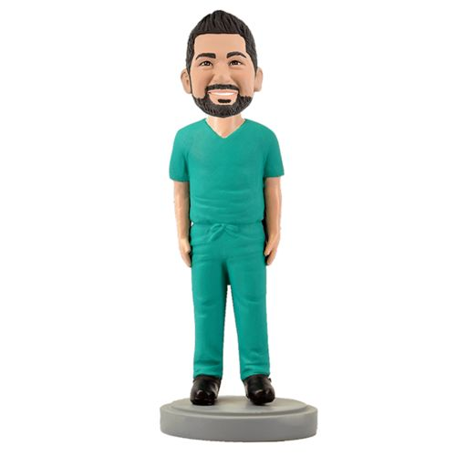 Photo of Male Medical Professional In Green Scrubs Bobblehead