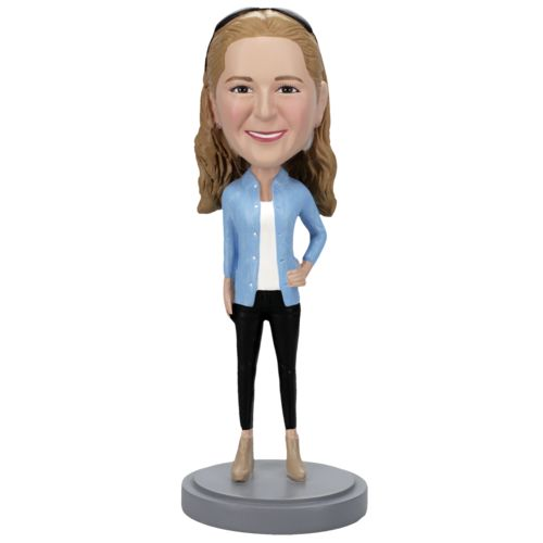 Photo of Casual Female in Jeans Bobblehead