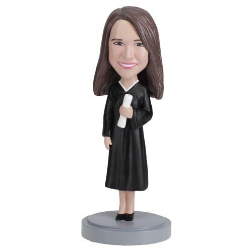 Photo of Female Graduate in Black Gown Bobblehead