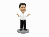Male Occupation Dressed In Business Casual With Arms Raised Bobblehead - Bobbleheads.com