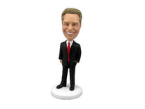 Male Executive In Power Suit Bobblehead - Bobbleheads.com