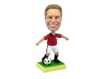 Soccer Player Dribbling With Red Shirt Bobblehead - Bobbleheads.com