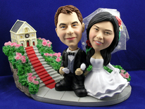 Bride and Groom Arm In Arm At Church Bobblehead - Bobbleheads.com