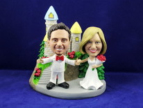 Bride and Groom With Arms Outstretched At Castle Bobblehead - Bobbleheads.com