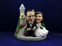 Bride and Groom Arm In Arm At Castle Bobblehead - Bobbleheads.com