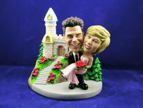 Groom Carries Bride At Castle Bobblehead - Bobbleheads.com