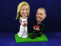Groom On Bended Knee With Bride On Lawn Bobblehead - Bobbleheads.com