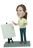 Female Artist With Canvas Bobblehead - Bobbleheads.com