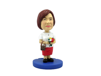 Woman With Handbag and Flowers Bobblehead - Bobbleheads.com