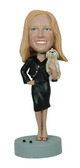 Trendy Female With Small Dog Bobblehead - Bobbleheads.com