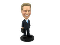 Male Executive With Briefcase Bobblehead - Bobbleheads.com