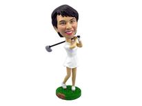 Female Golfer Swinging Her Club Bobblehead - Bobbleheads.com