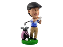 Male Golfer With Bag and Clubs Bobblehead - Bobbleheads.com