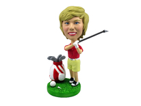 Female Golfer With Bag and Clubs Bobblehead - Bobbleheads.com