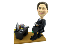 Male Executive At Office Desk Bobblehead - Bobbleheads.com