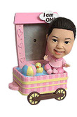 Baby Girl With Wagon Frame Bobblehead - Bobbleheads.com